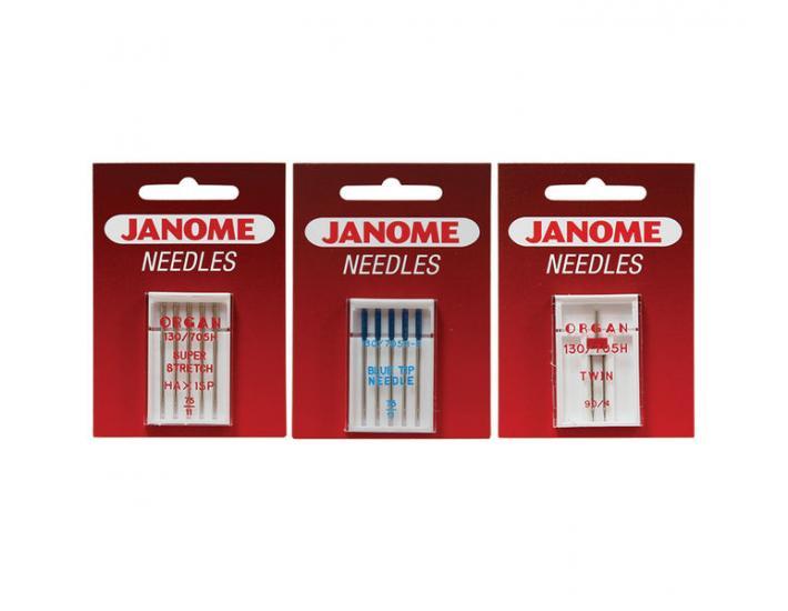 Komplet igieł JANOME 4 (z kulką, do tkanin, igła podwójna), fig. 1